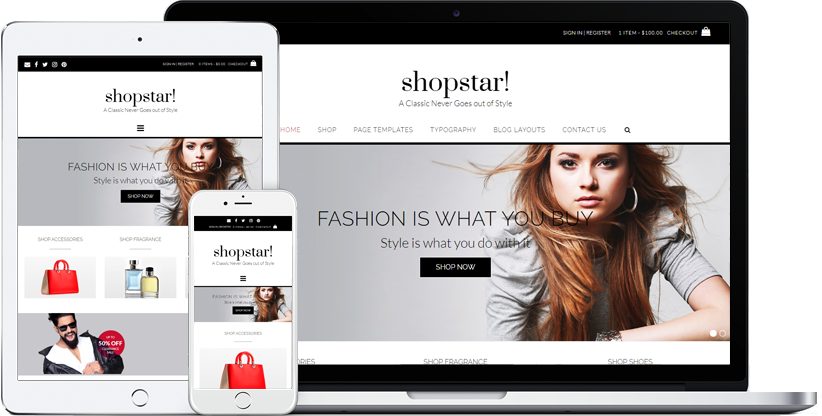Shopstar! WordPress theme displaying on various devices