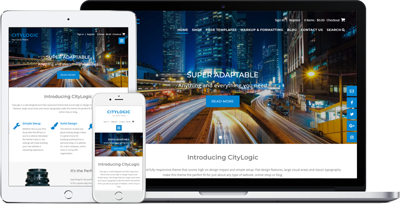 CityLogic WordPress theme displaying on various devices