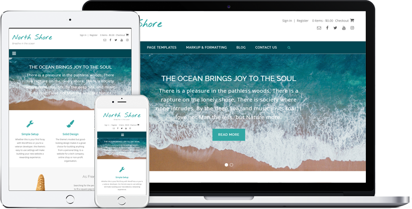 North Shore WordPress theme displaying on various devices