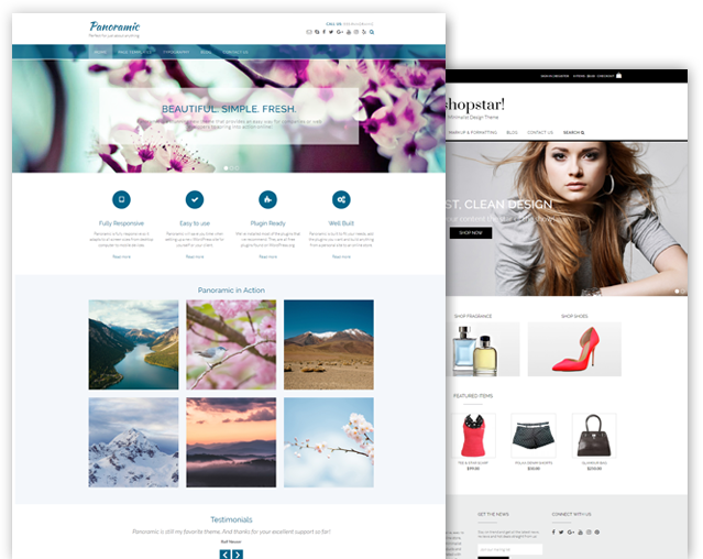 Panoramic and Shopstar! WordPress theme bundle