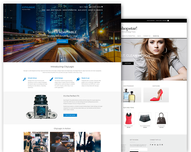 CityLogic and Shopstar! WordPress theme bundle