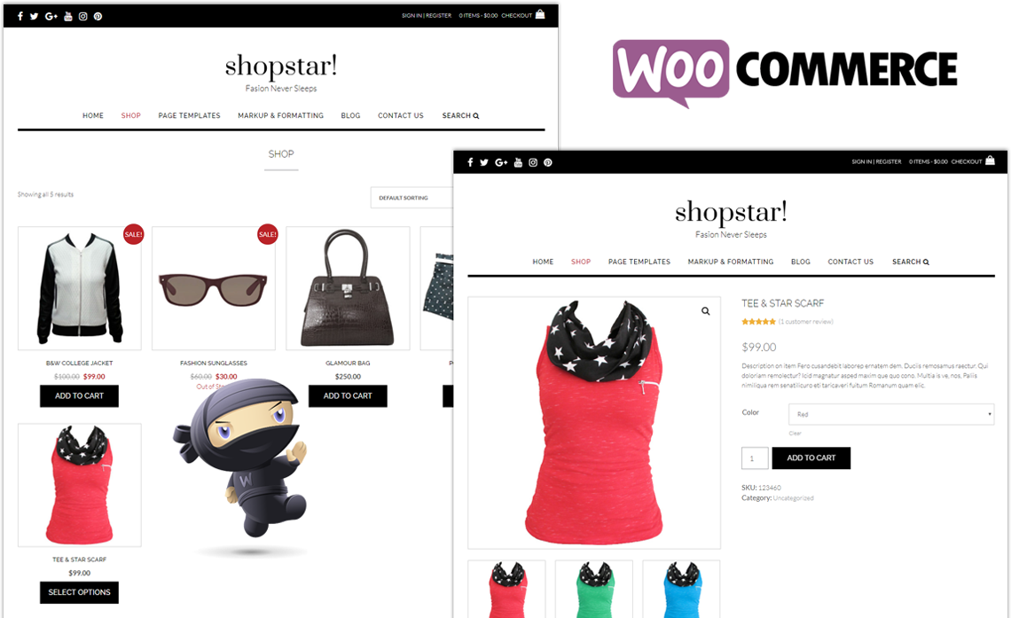 Shopstar! WordPress theme WooCommerce pages