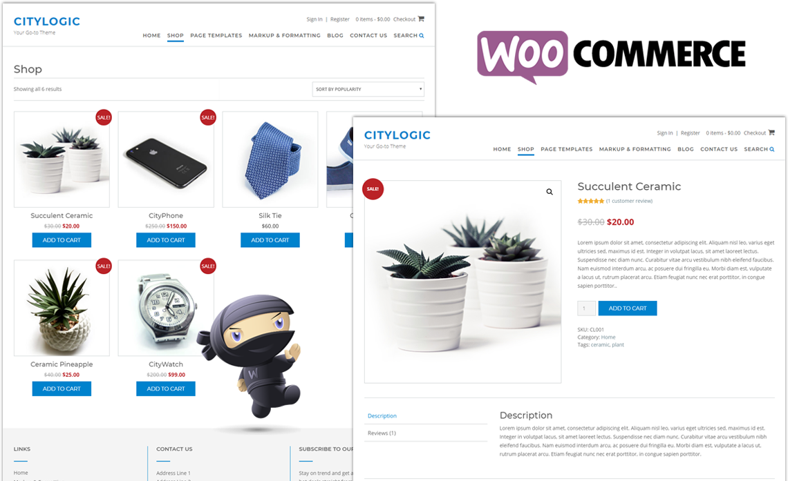 CityLogic WordPress theme WooCommerce pages