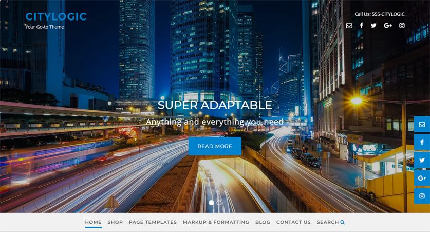 CityLogic WordPress theme navigation menu below slider