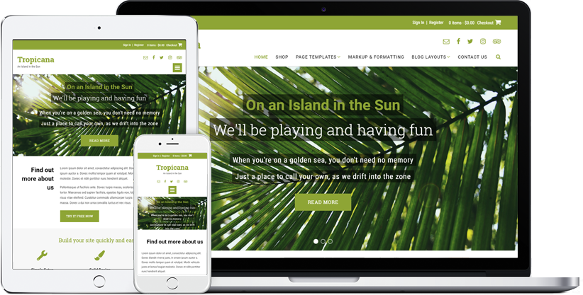 Tropicana WordPress theme displaying on various devices
