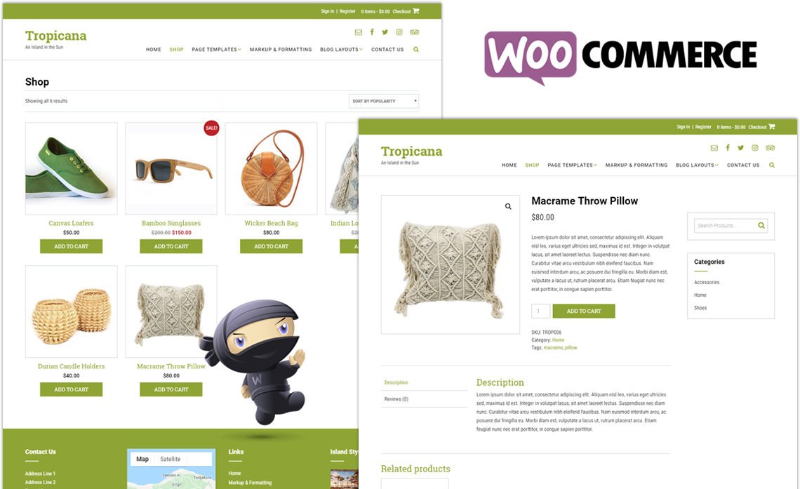 Tropicana WordPress theme WooCommerce pages