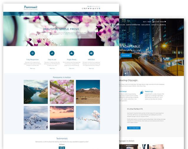 Panoramic and CityLogic WordPress theme bundle