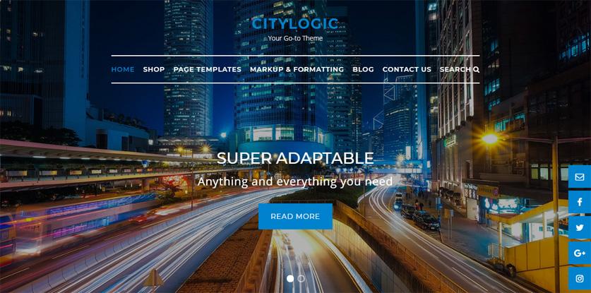 CityLogic WordPress theme centered navigation menu with borders