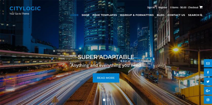 CityLogic WordPress theme navigation menu font color rollover