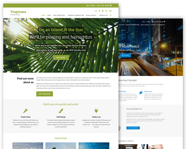 Tropicana and CityLogic WordPress theme bundle