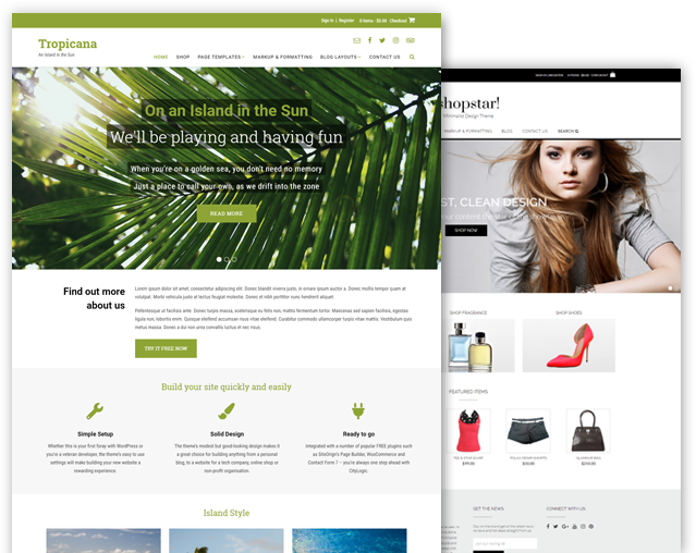 Tropicana and Shopstar! WordPress theme bundle