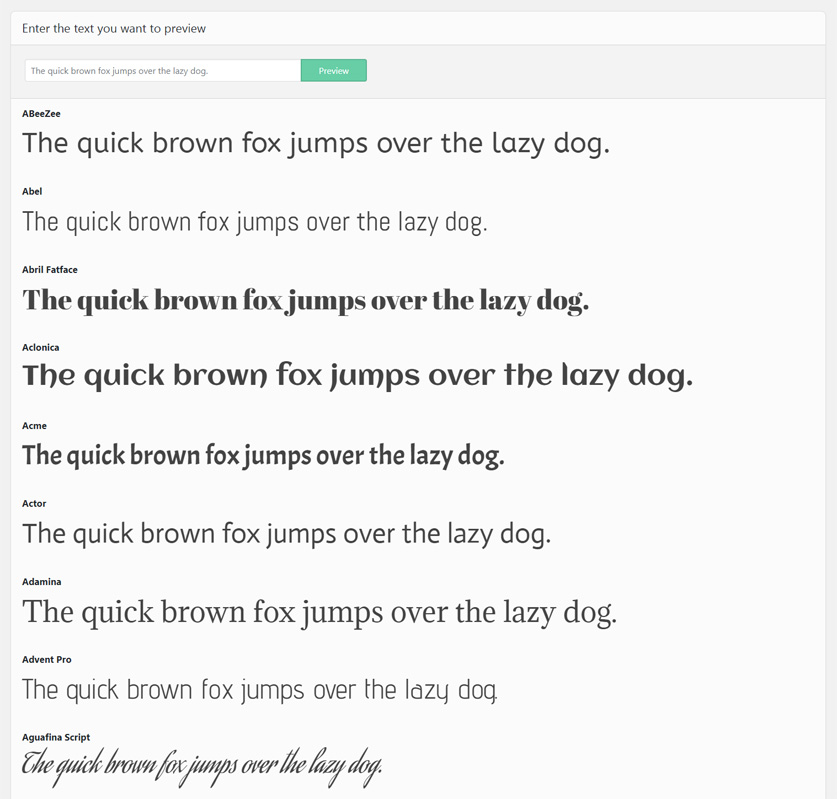 WordPress theme Google Fonts preview page