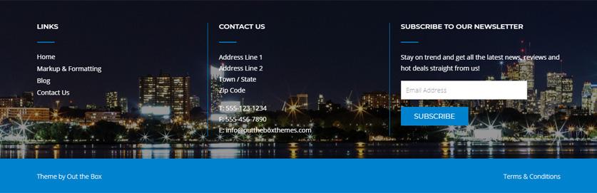 CityLogic WordPress theme footer with background image