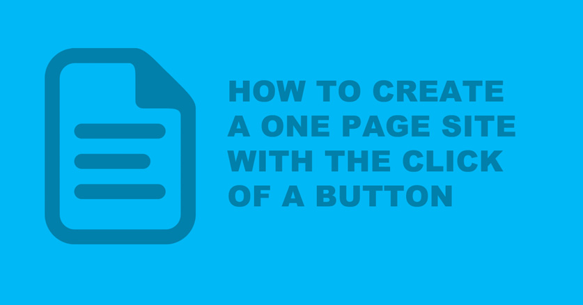 How to create a one page site with one click