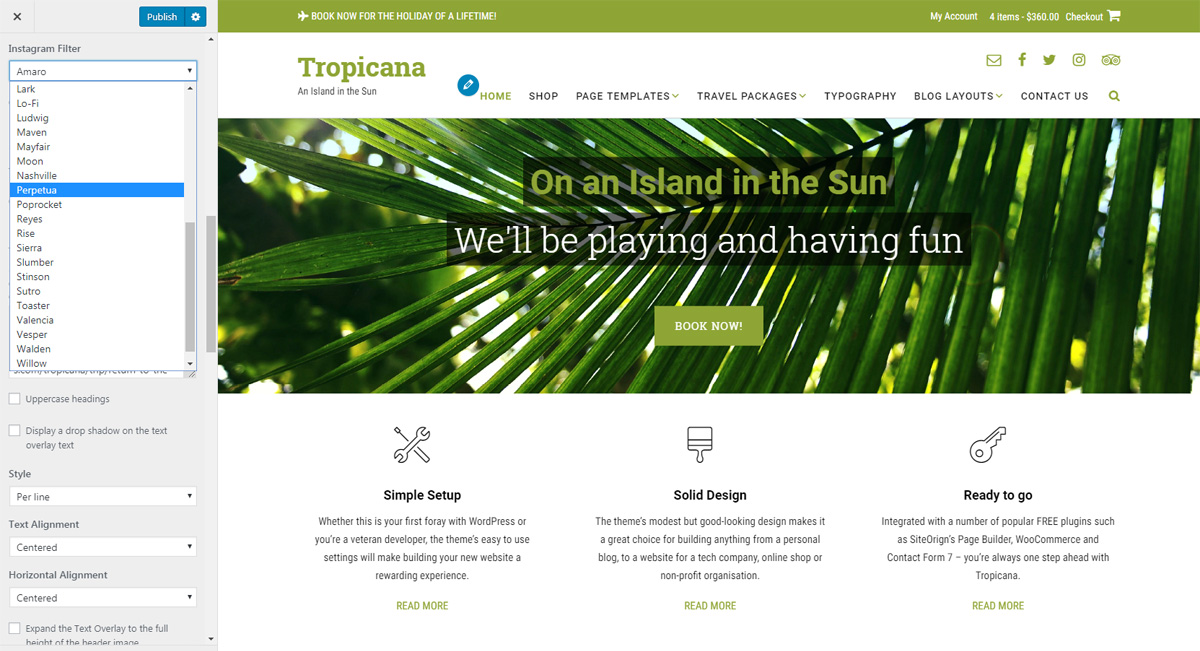 Tropicana WordPress theme Instagram filter setting